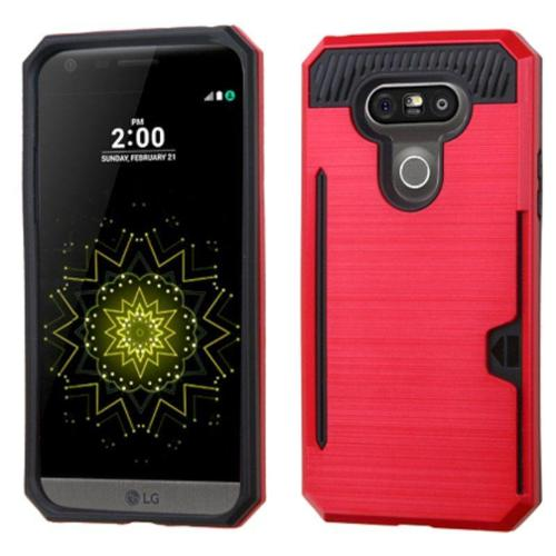 Insten Hard Dual Layer Case with card holder For LG G5 - Red/Black