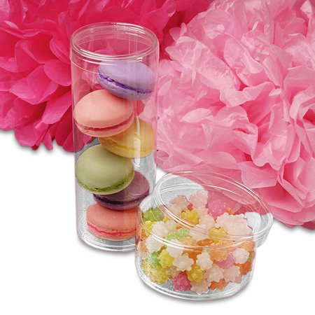 Clear Round PVC Containers With Cap 2-1/2
