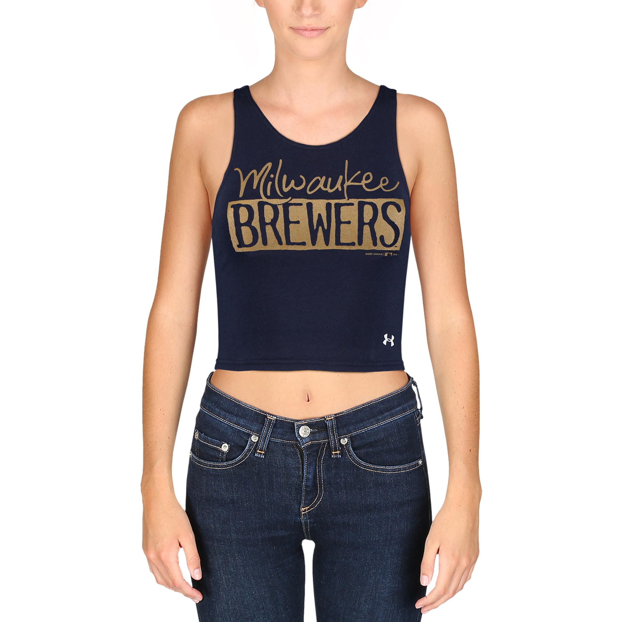 Milwaukee Brewers Under Armour Women's Barlette Tank Top - Navy