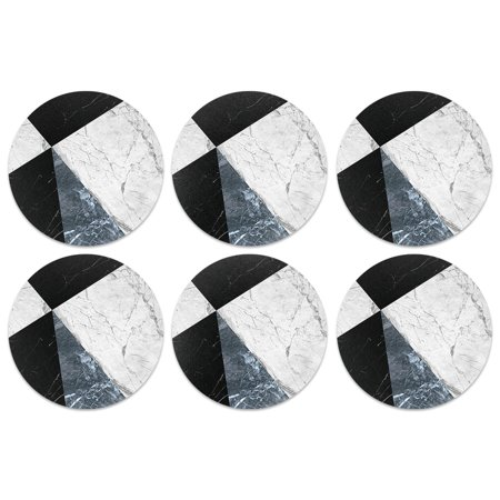 Caribou Drink Round Coaster Set of 6, Ray Black White Blue (Marble Wine Coaster)