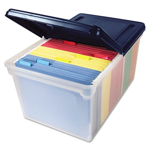 Advantus File Tote Storage Box with Lid, Letter, Plastic, Clear/Navy 55797
