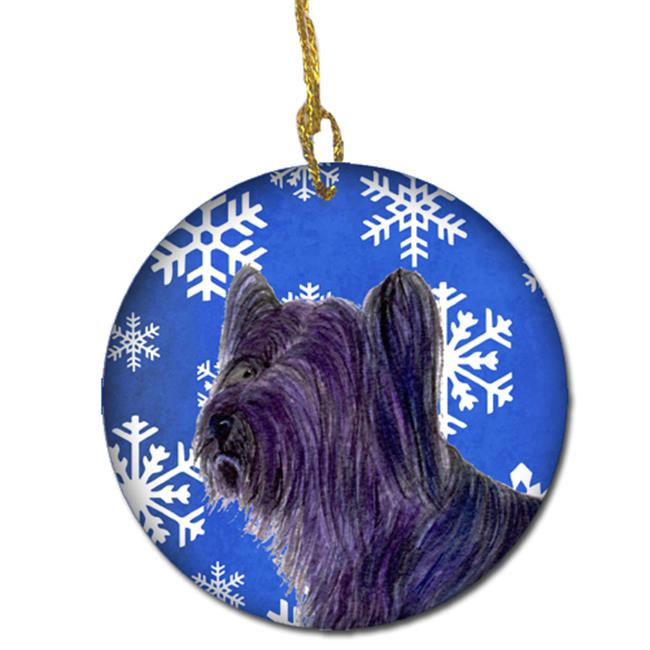 Carolines Treasures SS4601-CO1 Skye Terrier Winter Snowflakes Holiday Christmas Ceramic Ornament - image 1 of 1