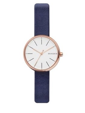 Skagen Women's SKW2592 Signatur White Dial Blue Leather Strap Watch