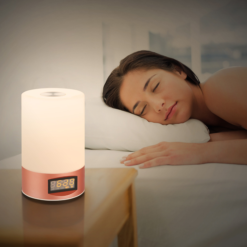Utorch Wake Up Light Sunrise Alarm Clock Simulation Night Light Bedside Table Lamp with 6 Natural Sounds, Dimmable LED Mood Light, Touch Sensor, Bluetooth Speaker, 3 Brightness Levels Control