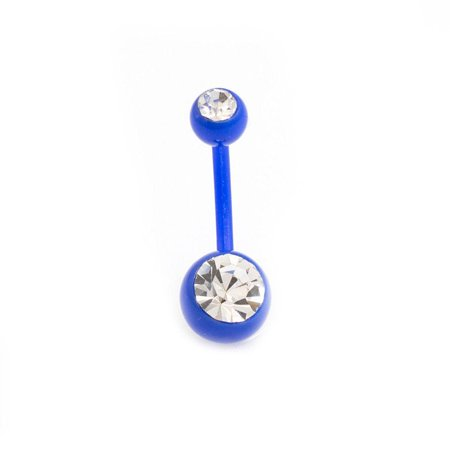 Belly Button Ring 14g Flexi Shaft with Two Cubic Zirconia Gems ()