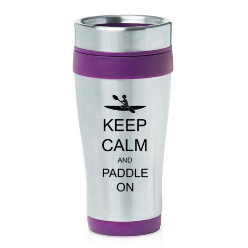 16oz Insulated Stainless Steel Travel Mug Keep Calm and Paddle On Kayak (Purple)