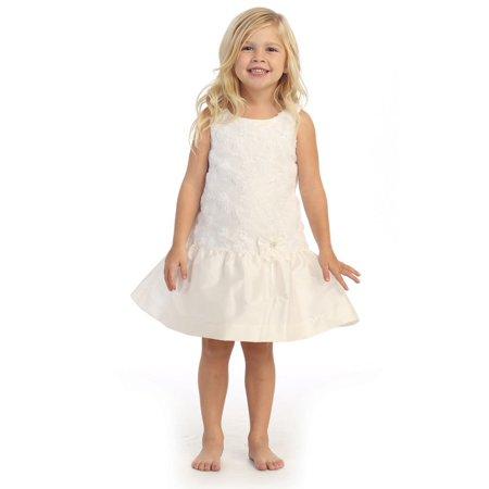 Angels Garment Little Girls Off-White Taffeta Drop Waist Flower Girl Dress -