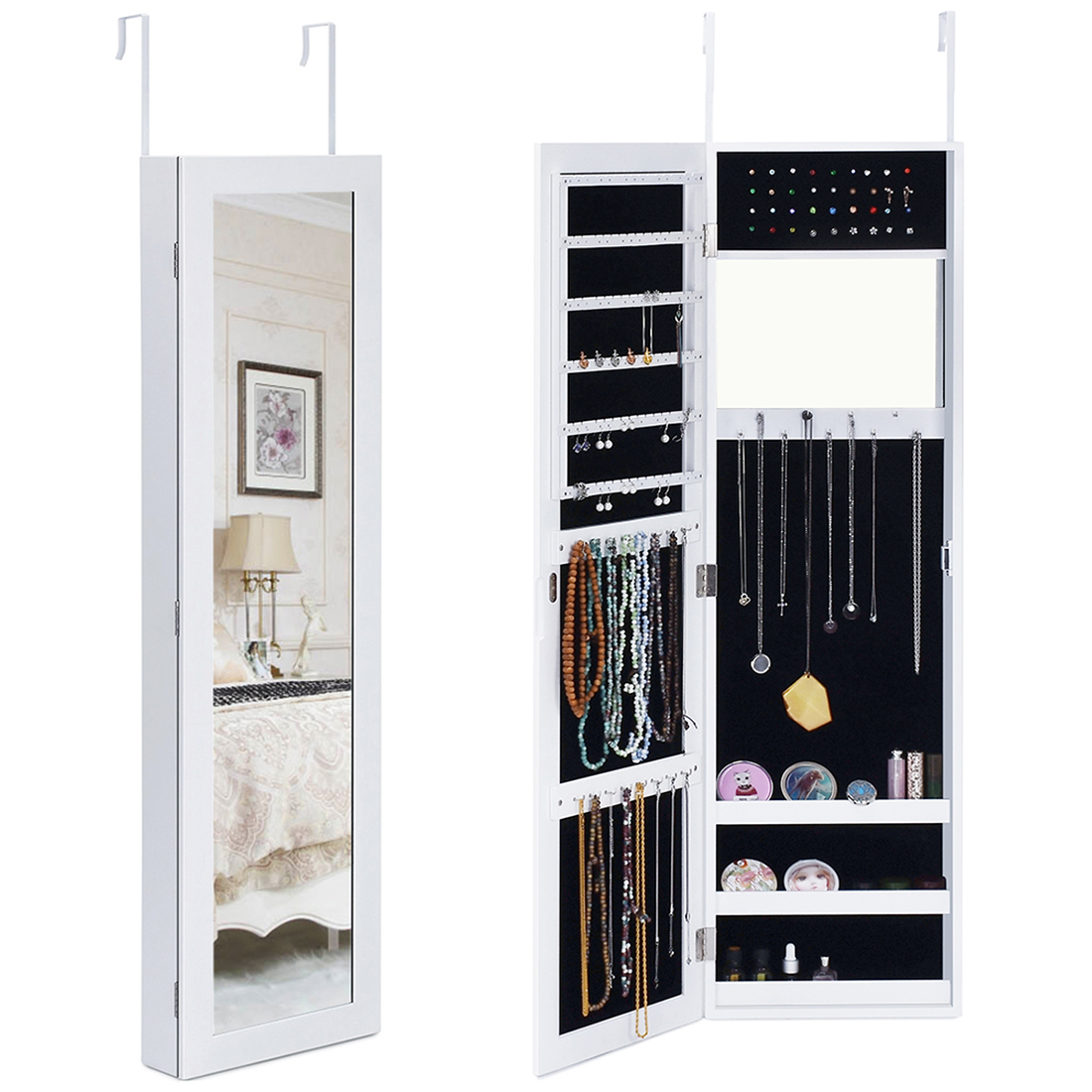 Kingbird Mirror Jewelry Cabinet Armoire Wall Door Mounted Lockable Jewelry Organizer, Space Saving, for Long Necklaces, Rings and Makeup (White)