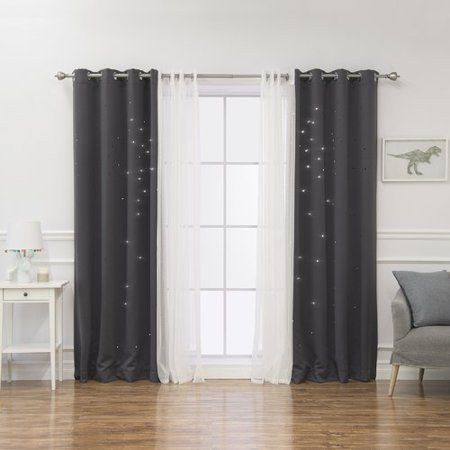 Dotted Star (Alcott Hill Arkose 4 Piece Tulle and Star Polka Dots Blackout Thermal Grommet Window Treatment)