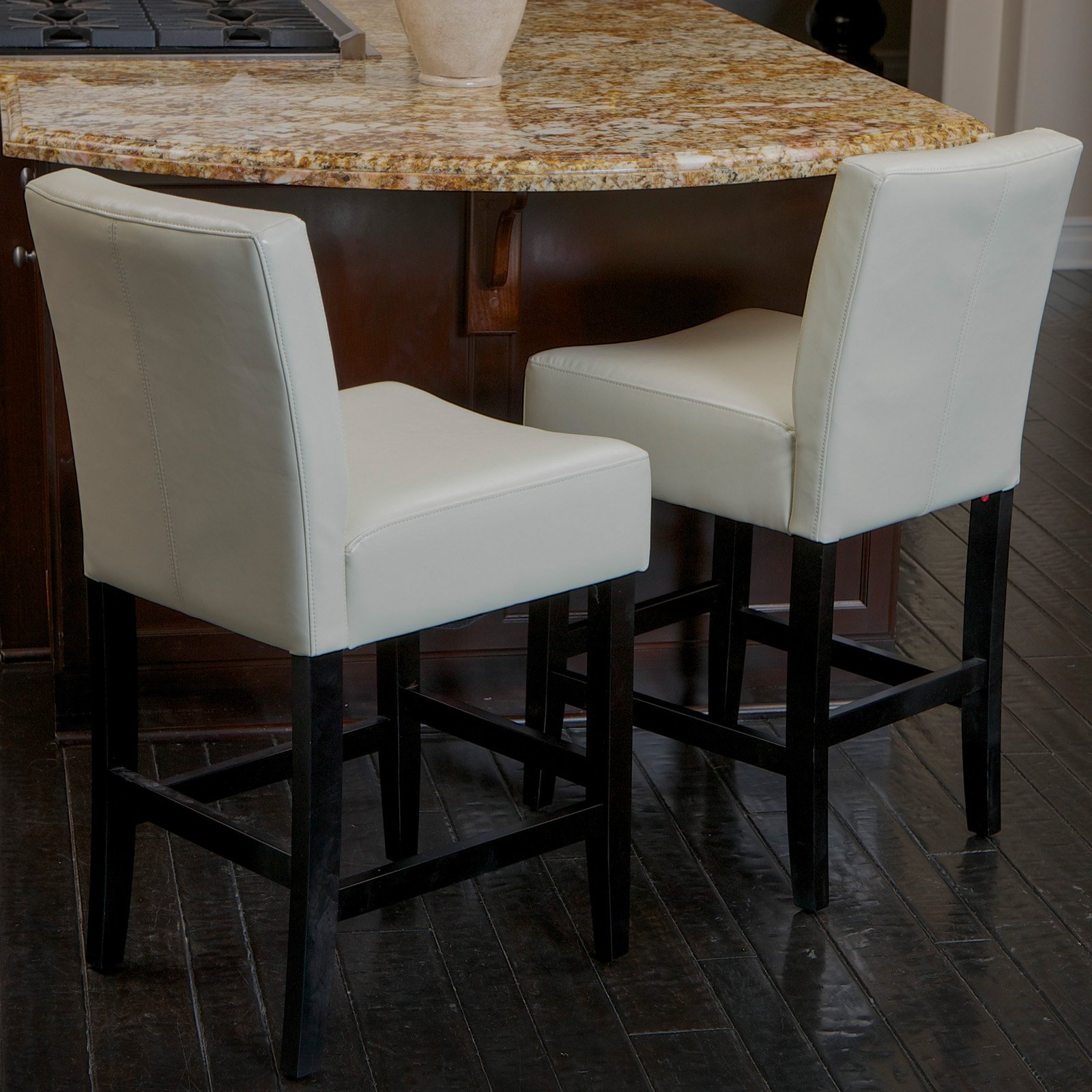 Lopez Ivory Leather Counter Stools 2 Pack Walmart Com