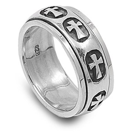 Sterling Silver Women's Mens Heavy Cross Ring ( Sizes 5 6 7 8 9 10 11 12 13 14 15 ) Wholesale 925 Band 9mm Rings (Size 6) (Men Sterling Silver Size 7 Ring)