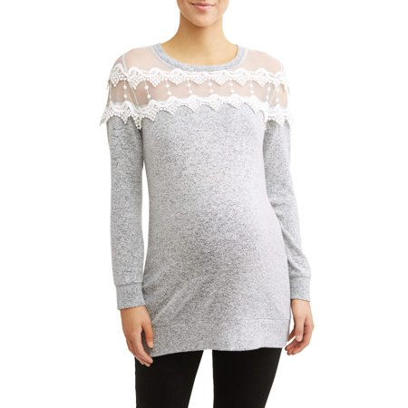 Maternity Long Sleeve Tunic w/ Lace Yoke