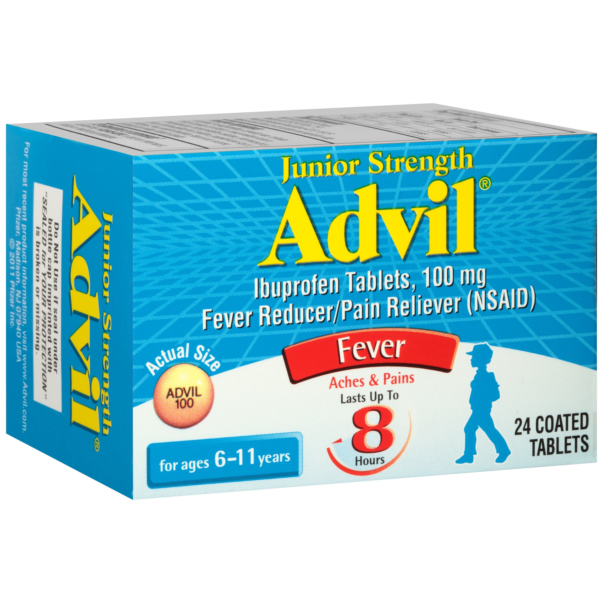 Junior Strength Advil Fever Reducer/Pain Reliever (Ibuprofen) Tablets 100mg 24 ct Box