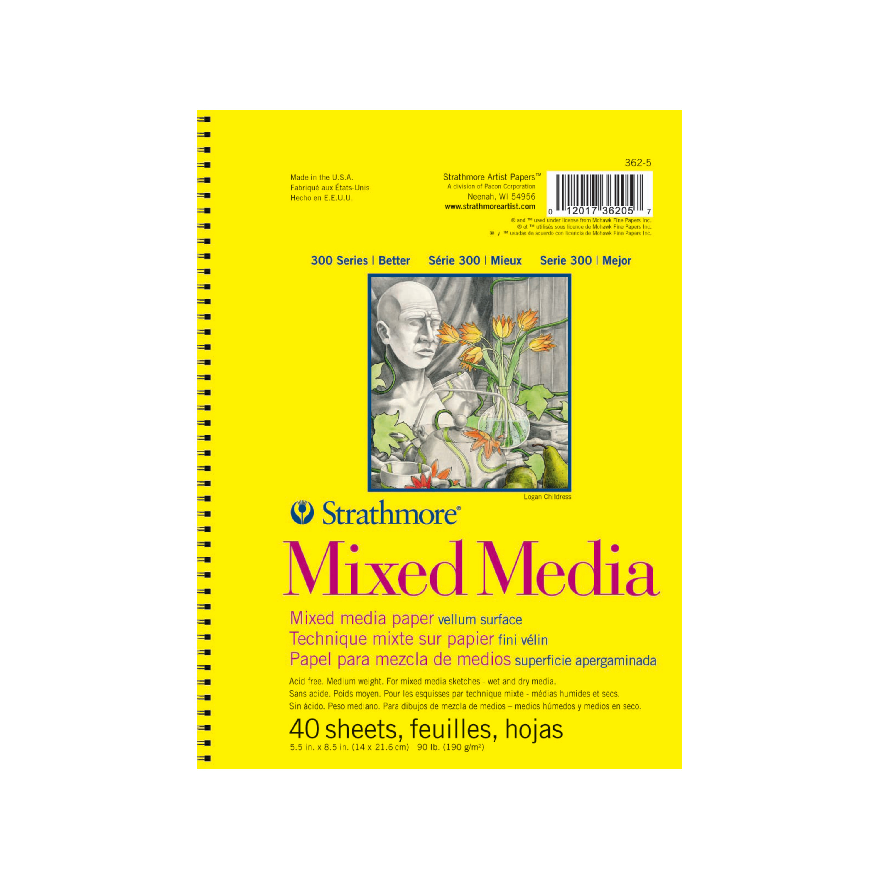 Strathmore Mixed Media Paper Pad, 300 Series, 5.5in x 8.5in, 40 Sheets