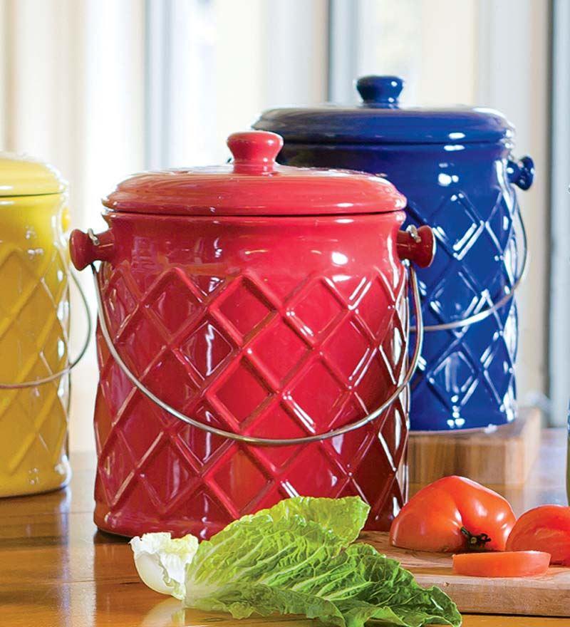 Plow & Hearth 1-Gallon Lattice Ceramic Compost Crock