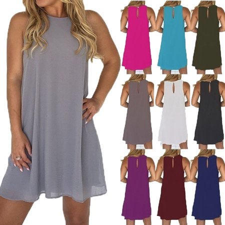 Women's Summer Fashion Round Neck Chiffon Mini Dress Sleeveless Casual Dress - Punk Suit