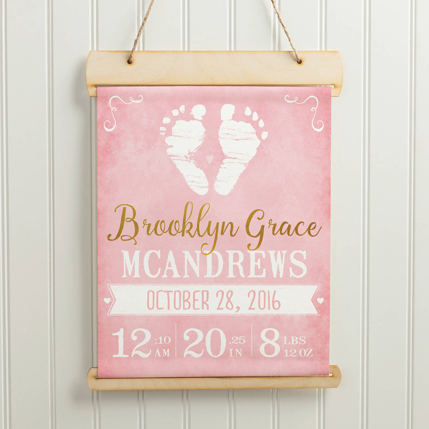 Personalized Baby Canvas Banner - Baby Girl or Boy Footprints