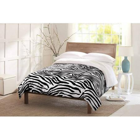 Better homes and gardens plush comforter zebra for Better homes and gardens bed in a bag