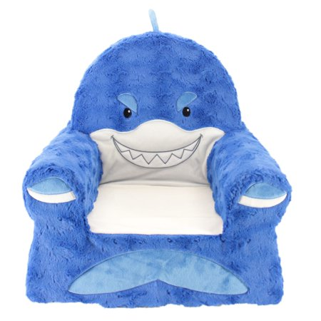 Sweet Seats Adorable Shark Children's Chair, Standard Size, Machine Washable Removable Cover, 13