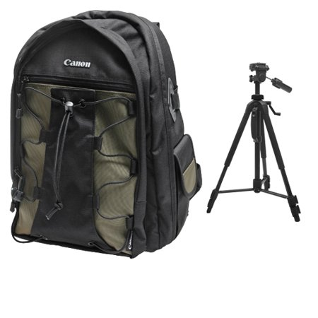 Canon 200EG Deluxe Digital SLR Camera Backpack Case + Photo/Video Tripod for EOS 6D, 70D, 7D, 5DS, 5D Mark II III, Rebel T3i, T5, T5i, T6i, T6s, SL1