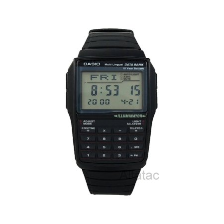 Men's Data Bank Calculator Watch, Black Resin Strap (Casio Databank Watch Strap)