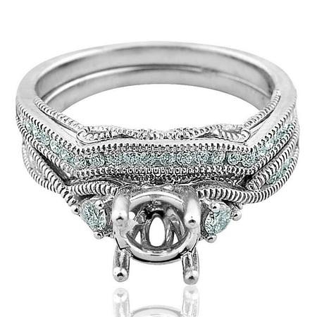 Midwest Jewellery 14K White Gold Wedding Ring Set Semi Mount 1/3ctw Diamonds Fits 1ct Round Solitaire (i2/i3, I/j) ()