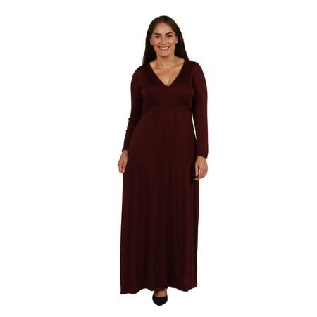 d5444251fe1 24seven Comfort Apparel - 24seven Comfort Apparel Enchanting V-Neck Long  Sleeve Plus Size Maxi Dress - Walmart.com