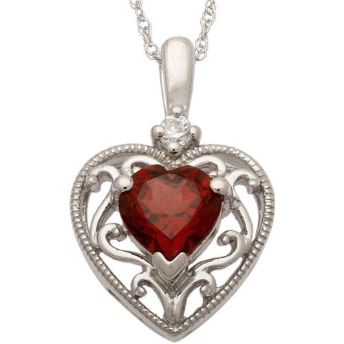 ".90 Carat T.G.W. Garnet and CZ Sterling Silver Heart Pendant, 18"""