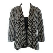 Kasper NEW Black Ivory Women's Size Large L Open Front Textured Jacket $99 #022