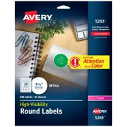 Avery White High-Visibility Labels, 1-2/3