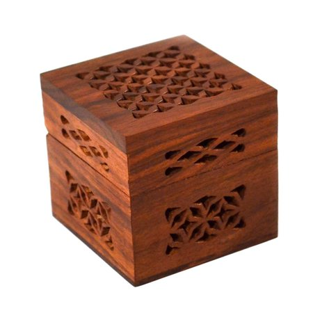 Handmade Small Lattice Cutwork Wood Box - Matr Boomie, A Fair Trade product distributed by a member of The Fair Trade Federation. By Global Crafts From USA
