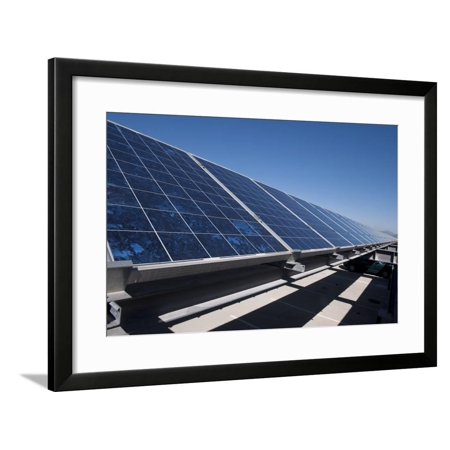 Solar Panels Installed on Top of a Parking Garage Framed Print Wall