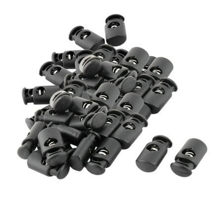 Plastic Single Hole Spring Loaded Clothes Sliding Cord Lock Stopper Black 50pcs ()