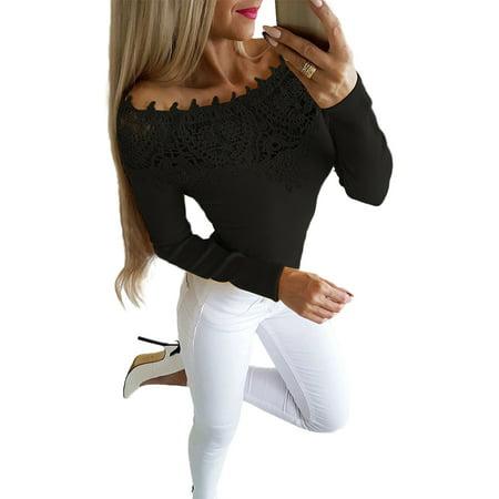 d47334c9b76 sparkies - Women s Casual Tops One Off Shoulder Lace Slim Fit Long Sleeve  Blouse Shirt - Walmart.com