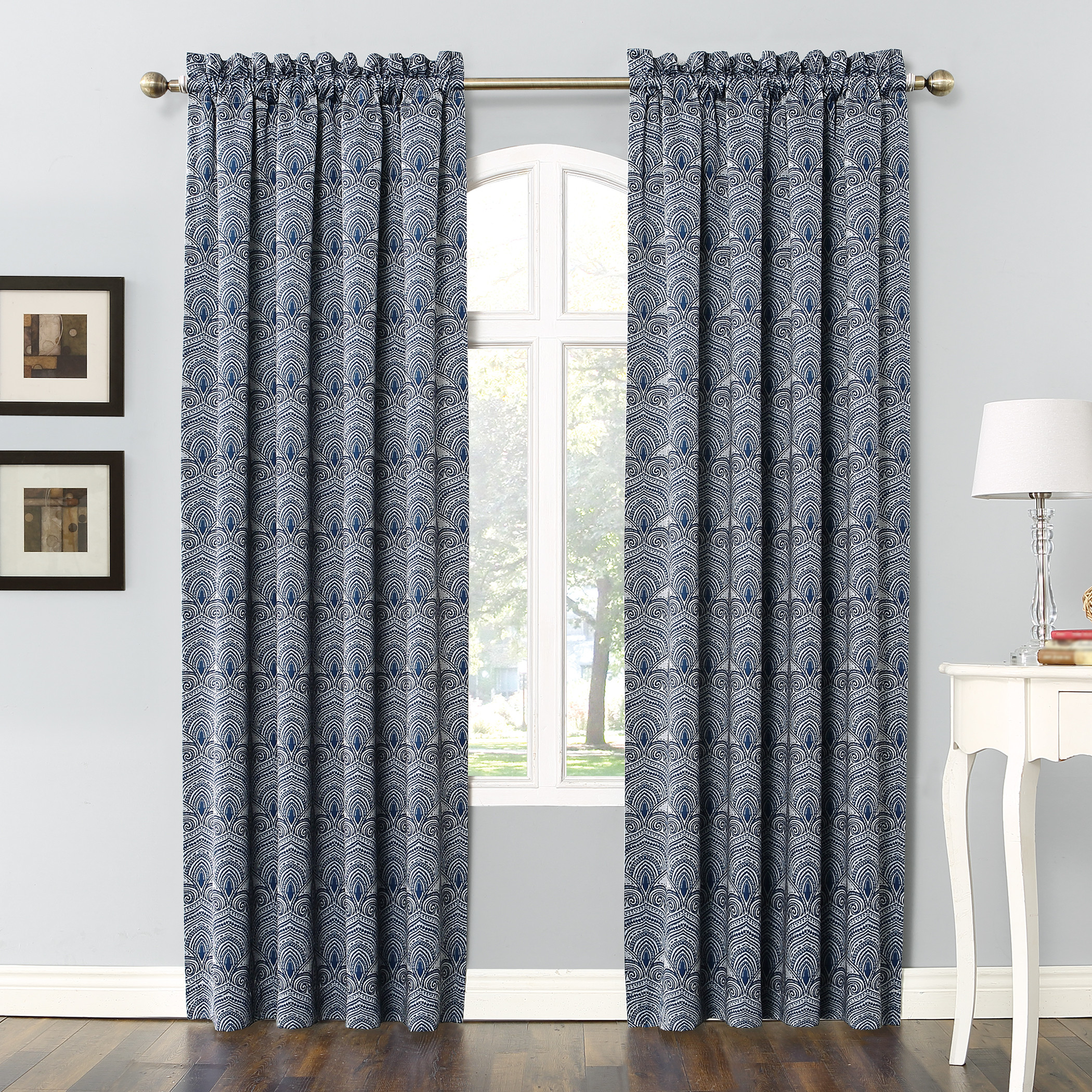 Sun Zero Dmitri Damask Print Room Darkening Rod Pocket Curtain Panel