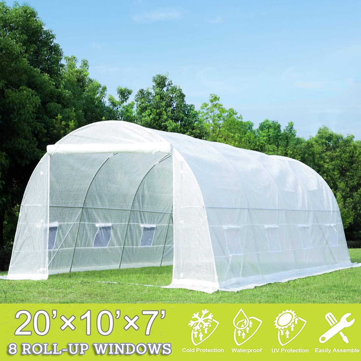 Strong Camel Large Walk in Greenhouse Portable Tunnel Garden Plant Tent 10 X7X6