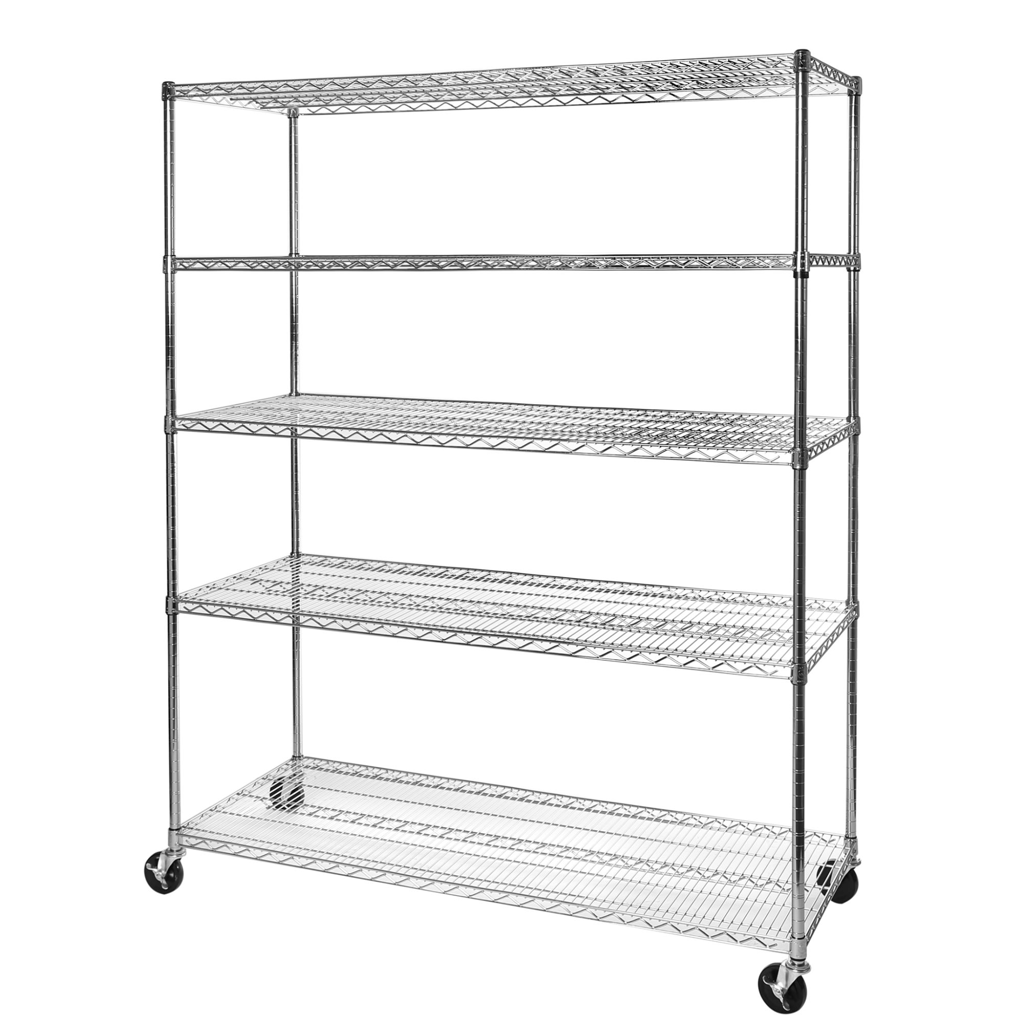 72 in. x 60 in. x 24 Commercial-Grade 5-Tier Steel Wire Shelving with Wheels by Seville Classics
