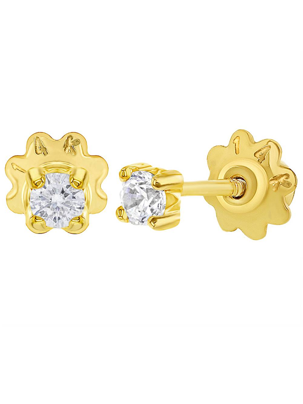 14k Yellow Gold Clear CZ Prong Set Screw Back Baby Toddlers Girls Earrings 3mm