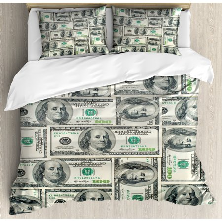 Money King Size Duvet Cover Set, Dollar Bills of United States Federal Reserve with the Portrait of Ben Franklin, Decorative 3 Piece Bedding Set with 2 Pillow Shams, Pale Green Grey, by (Franklin Covey Green)