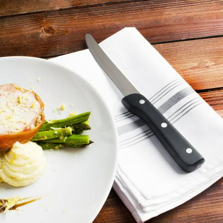 "Walco 950529 4 13/16"" Customizable Stainless Steel Full Tang Steak Knife with Black Pakka Wood Handle - 12/Pack - image 1 de 1"