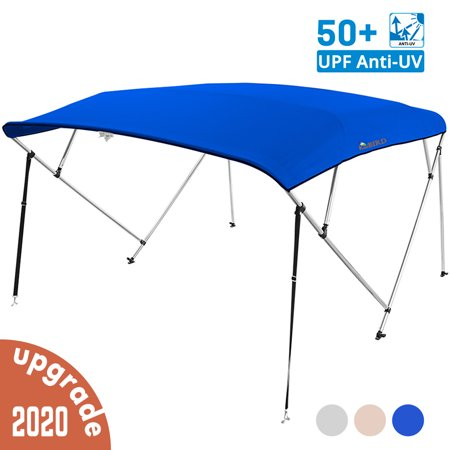 KING BIRD 4 Bow Bimini Boat Top Cover Sun Shade Boat Canopy Waterproof 1 Inch Stainless Aluminum Frame 55