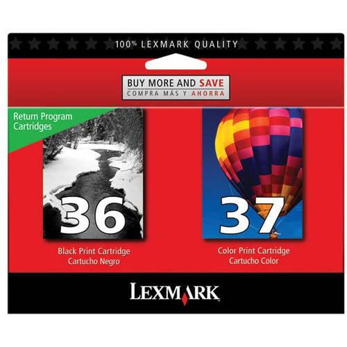 Lexmark Twin-Pack #36, #37 Black and Color Return Program Print Cartridges