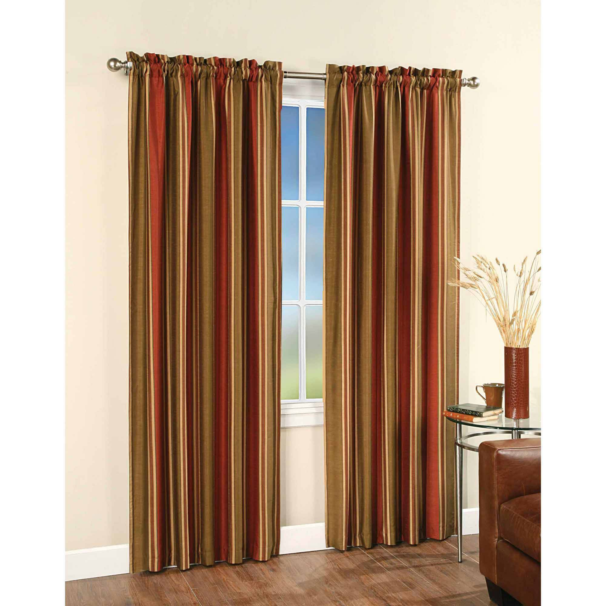 Faux Silk Stripe Tailored Rod Pocket Curtain Panel