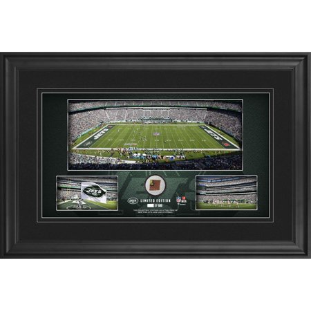 "New York Jets Framed 10"" x 18"" Stadium Panoramic Collage with Game-Used Football - Limited Edition of 500 - Fanatics Authentic Certified"