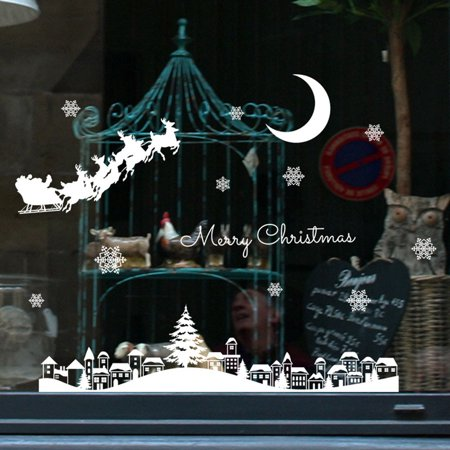 Christmas Restaurant Mall Decoration Snow Glass Window Removable (Mall Glasses)