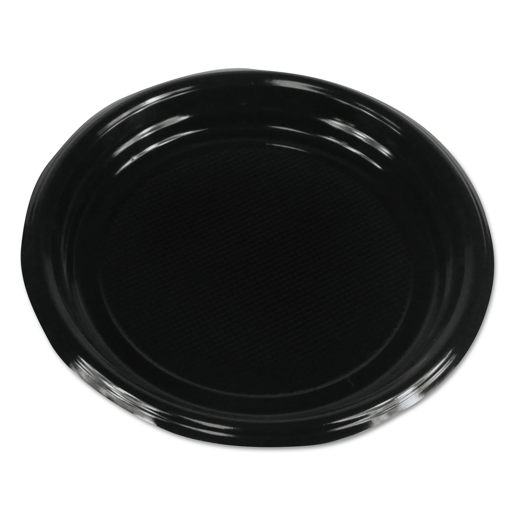"""Boardwalk Hi-Impact Plastic Dinnerware, Plate, 9"""" Diameter, Black, 500/Carton"""