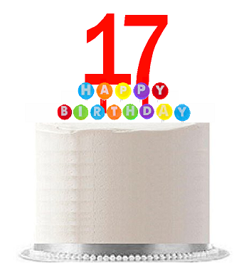 Item#017WCD - Happy 17th Birthday Party Red Cake Topper & Rainbow Candle Stand Elegant Cake Decoration Topper Kit