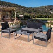 Goplus 4 PCS Outdoor Patio Garden Black Rattan Wicker Sofa Set Furniture Cushioned