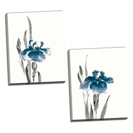 Gango Home Decor Contemporary Japanese Iris II & III Crop Indigo by Chris Paschke (Ready to Hang); Two 16x20in Hand-Stretched Canvases