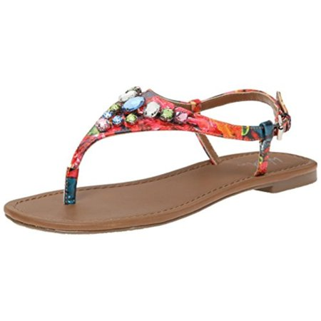 Wild Pair  Womens Frazier Faux Leather T-Strap Thong Sandals